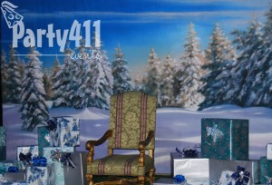 winter wonderland backdrop for Santa